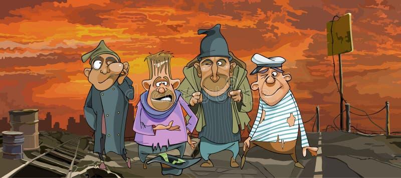 穿破的服装的动画片滑稽的无家可归的人在废墟 皇族释放例证