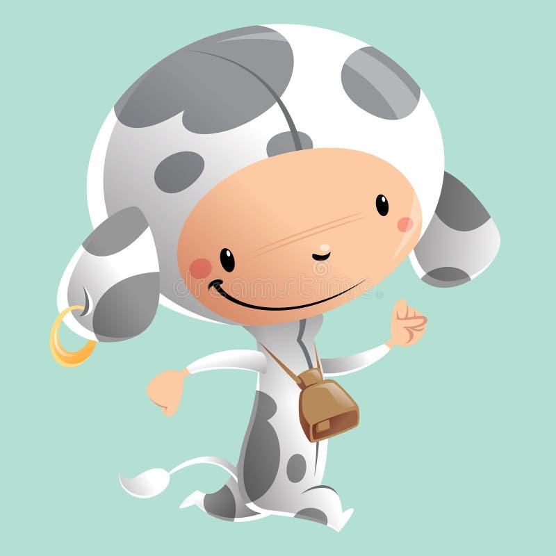 穿滑稽的狂欢节母牛服装的动画片愉快的微笑的孩子 向量例证