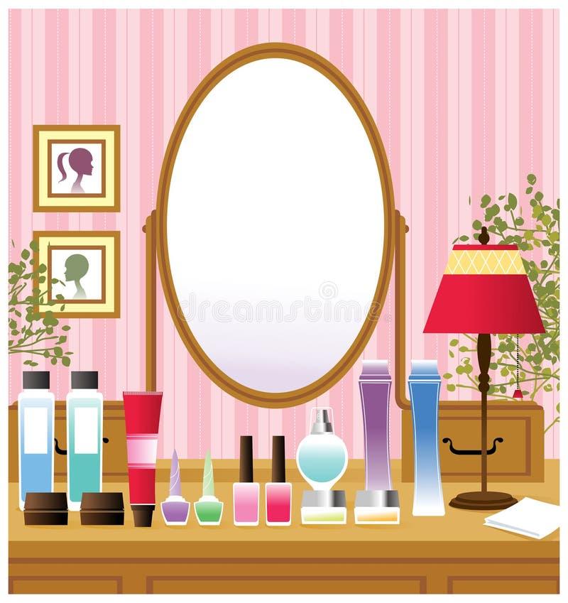 穿戴镜子表的卫生间 向量例证