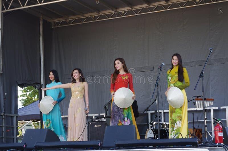 穿Ao戴国民服装的越南妇女 图库摄影