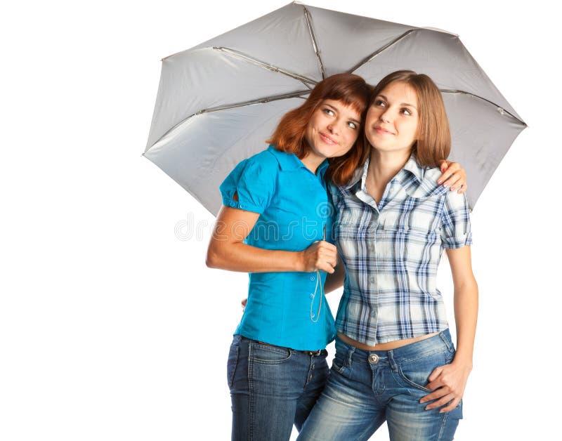 突出伞的女孩下 库存图片