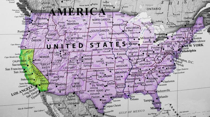 突出加利福尼亚状态的美利坚合众国的地图 图库摄影