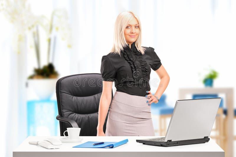 突出在与膝上型计算机的服务台旁边的女实业家 库存照片