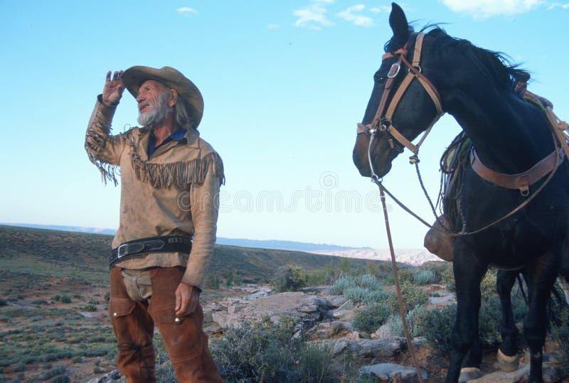 突出在沙漠的牛仔和马 免版税库存图片