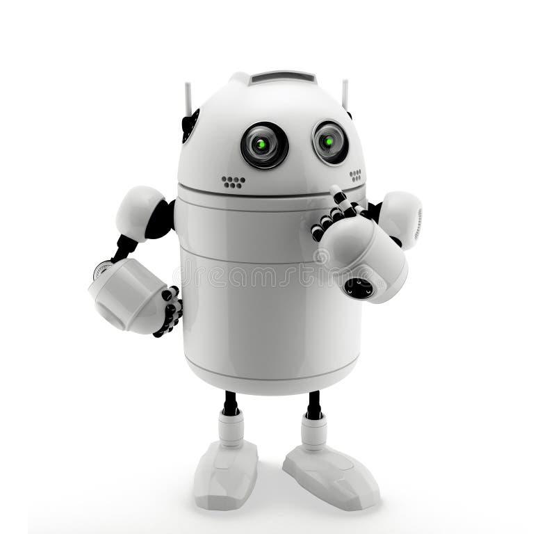 突出在认为的姿势的机器人。 库存例证