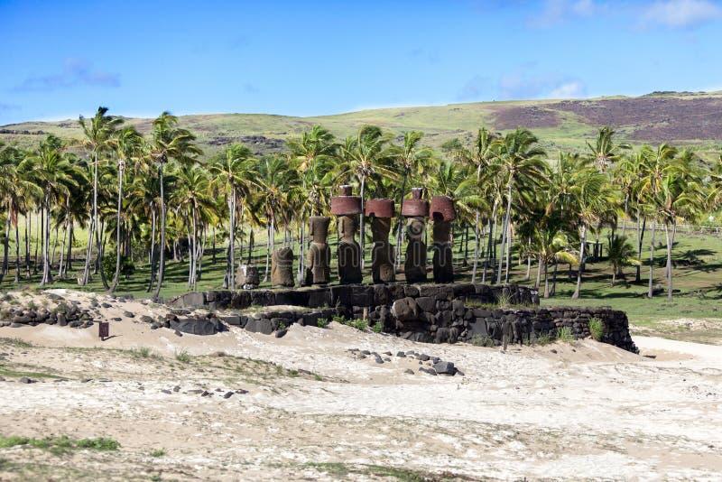 突出在Anakena海滩的Moais 免版税库存照片