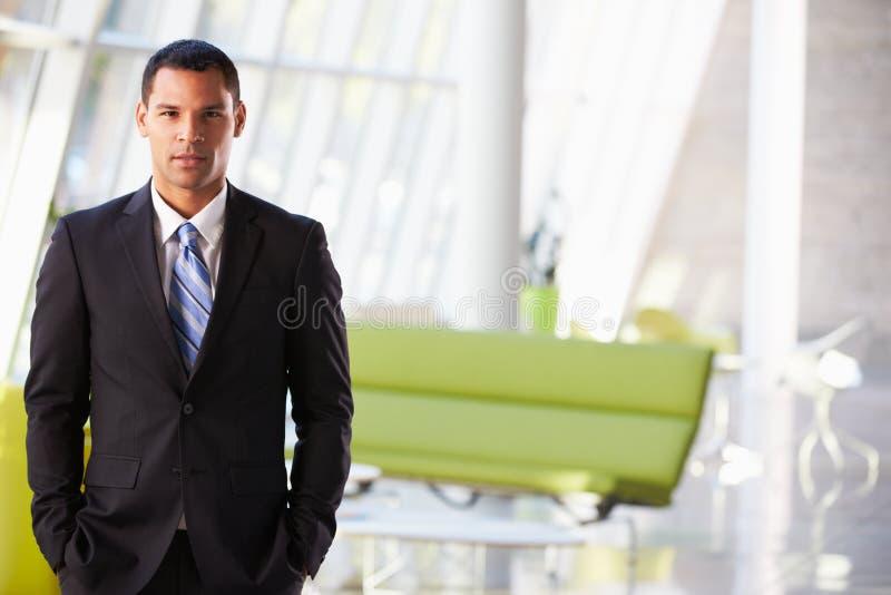 突出现代办公室接收的生意人纵向 库存照片