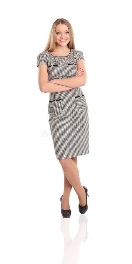 突出用被折叠的现有量的愉快的少妇 免版税库存照片