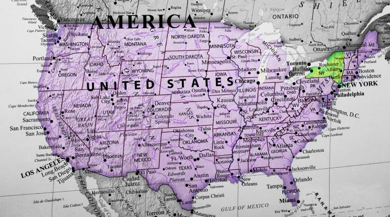 突出纽约状态的美利坚合众国的地图 免版税库存图片