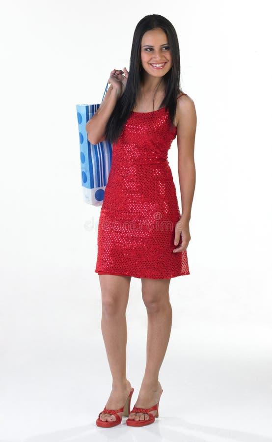 突出袋子女孩印第安的购物少年 库存照片