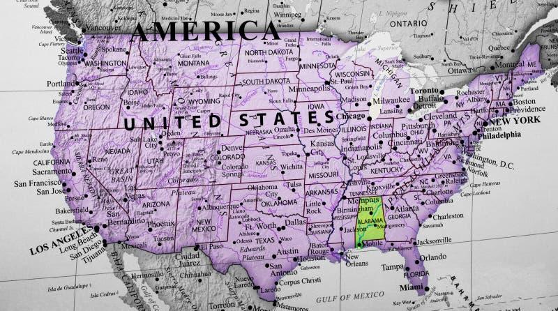 突出阿拉巴马州的美国的地图 免版税库存照片
