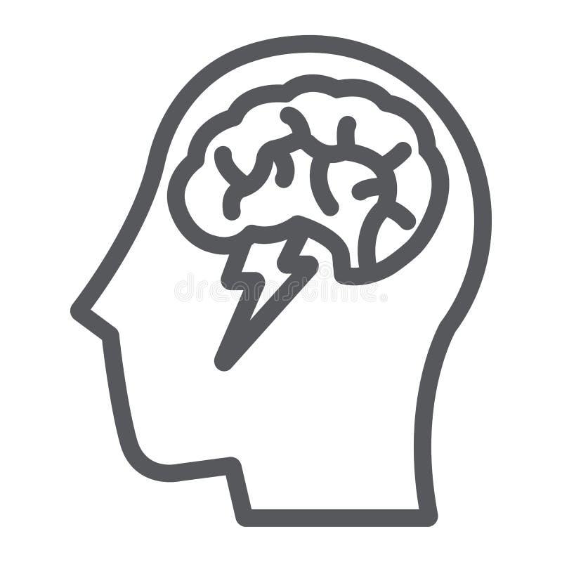 突发的灵感线象,创造性和想法、脑子和雷标志,向量图形,在白色背景的一个线性样式 向量例证