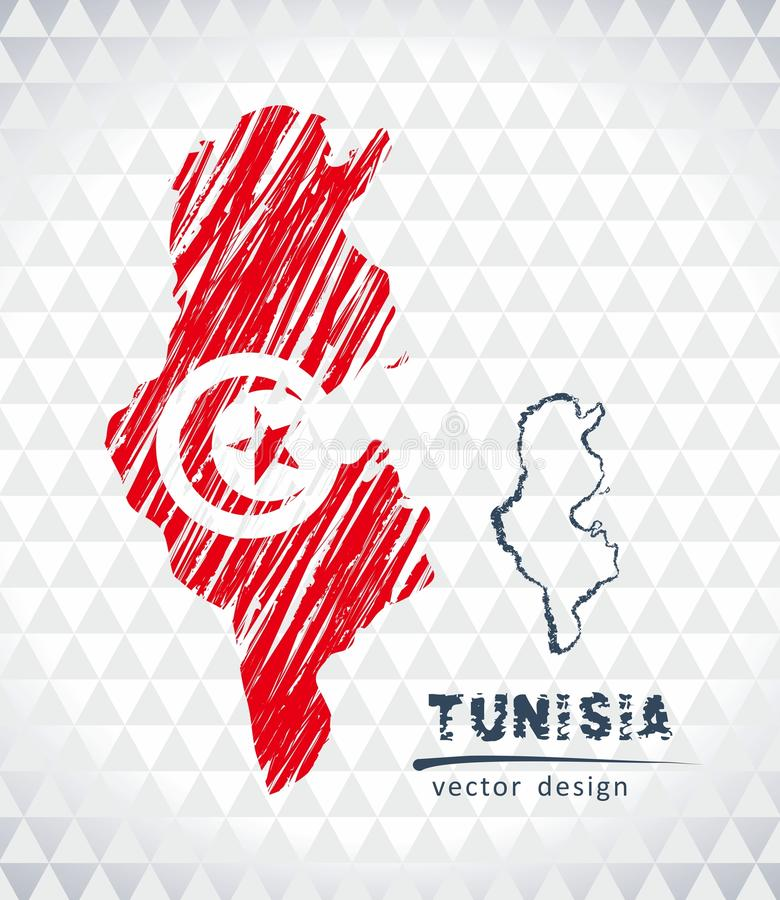 突尼斯与在白色背景隔绝的旗子里面的传染媒介地图 剪影白垩手拉的例证 皇族释放例证