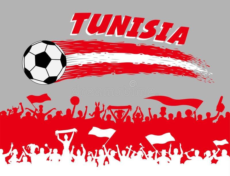 突尼斯与足球和突尼斯支持者sil的旗子颜色 库存例证