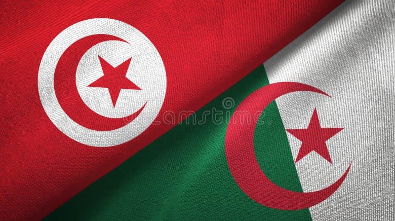 突尼斯和阿尔及利亚两旗子纺织品布料,织品纹理 向量例证