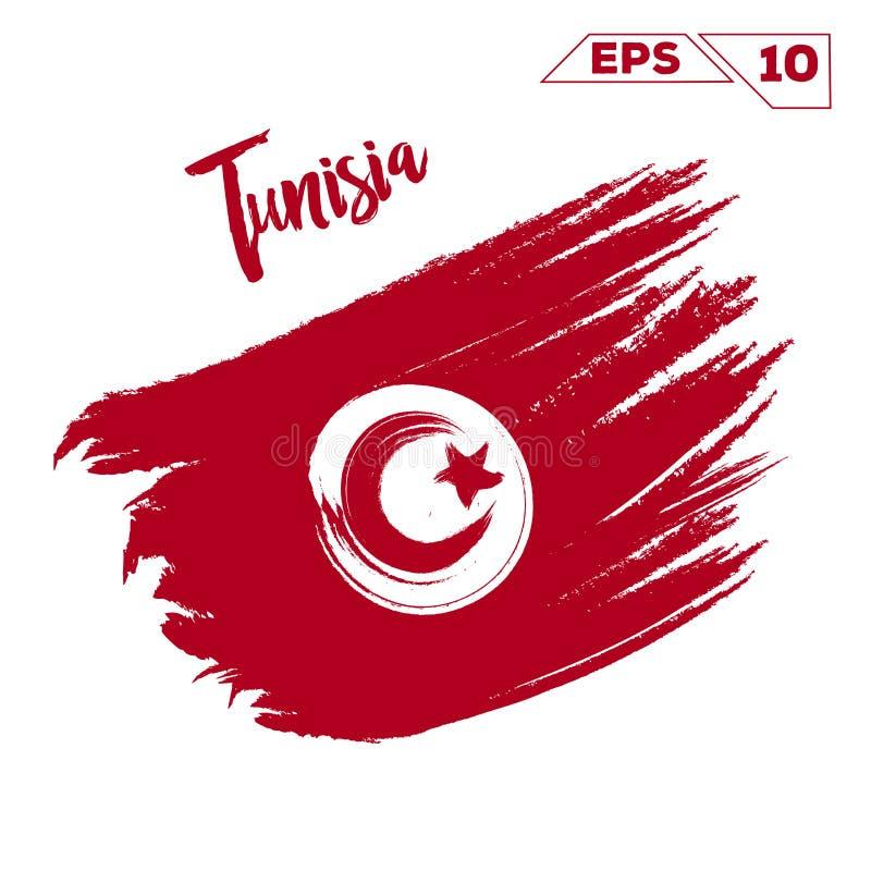 突尼斯旗子刷子冲程 库存例证
