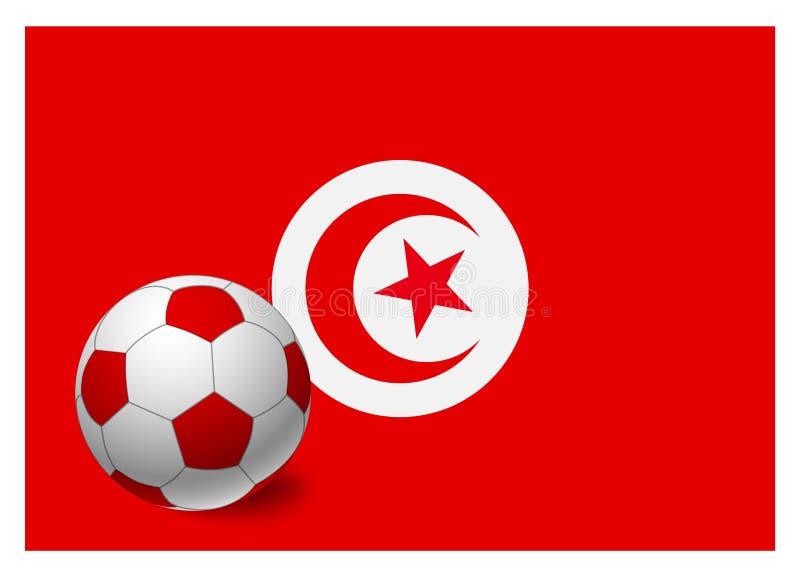 突尼斯旗子和足球 向量例证