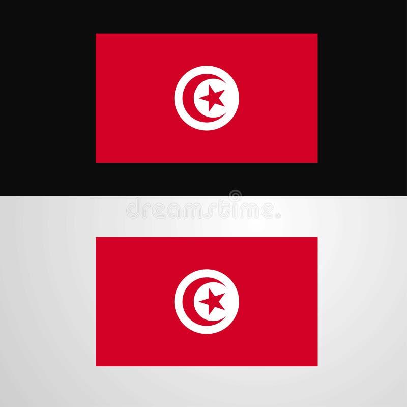 突尼斯旗子横幅设计 库存例证