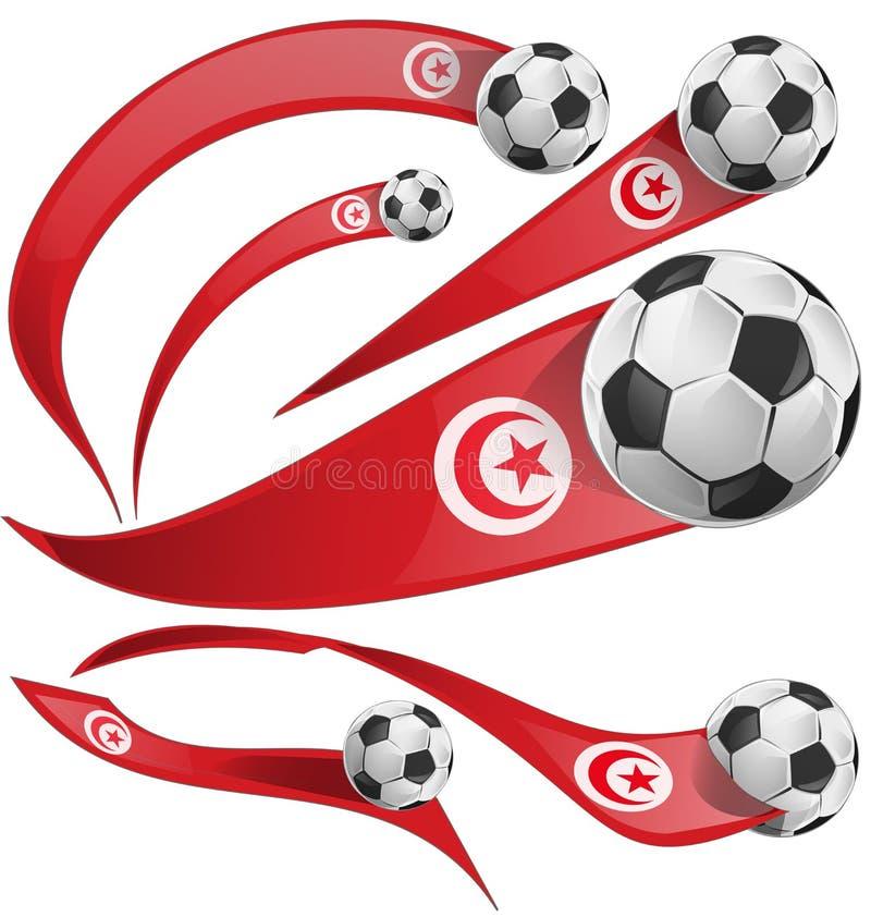 突尼斯旗子设置与足球 库存例证