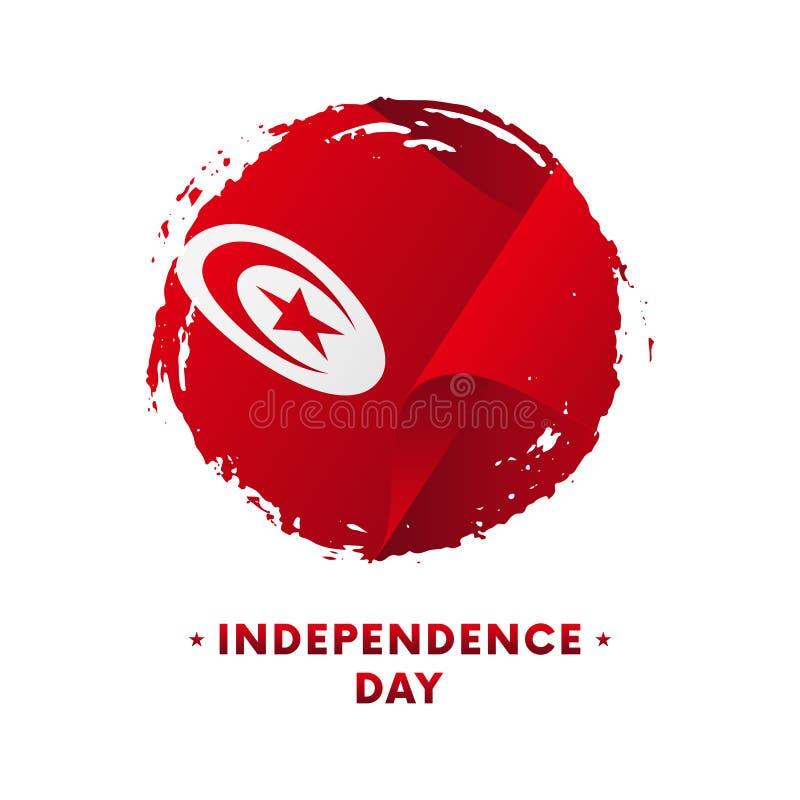 突尼斯独立日庆祝横幅或海报  突尼斯,刷子冲程背景的挥动的旗子 也corel凹道例证向量 库存例证