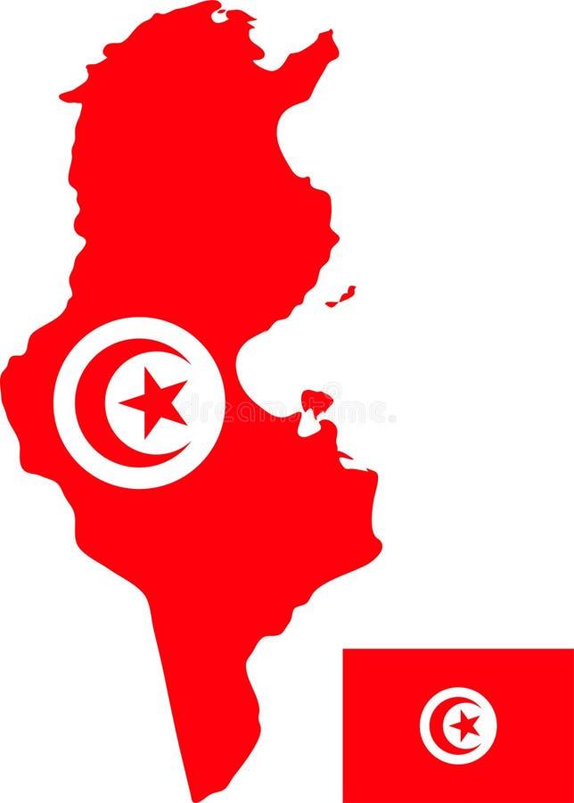 突尼斯的传染媒介地图有旗子的 被隔绝的,白色背景 库存图片