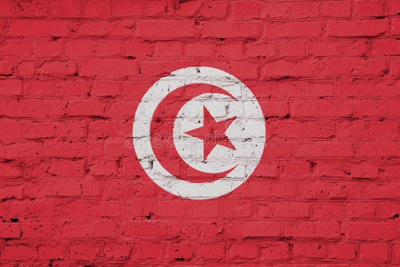 突尼斯的旗子的纹理 库存例证