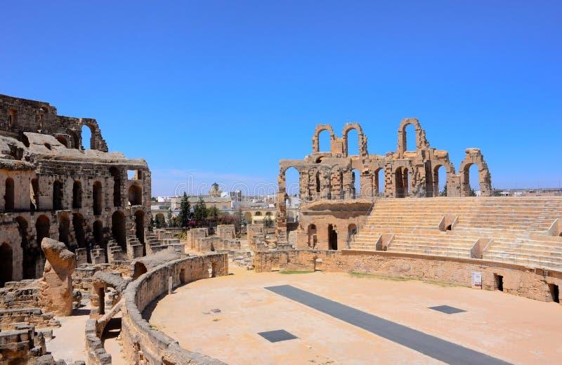 突尼斯竞技场,El Jem罗马斗兽场,罗马帝国建筑学 库存照片