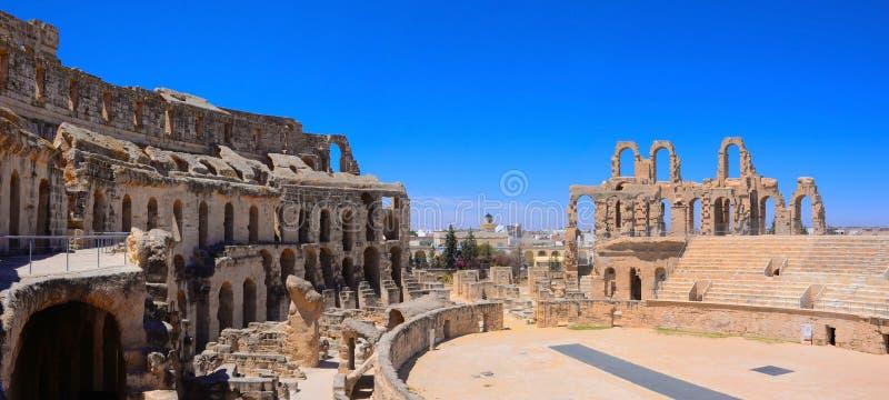 突尼斯竞技场,El Jem罗马斗兽场,罗马帝国建筑学 图库摄影