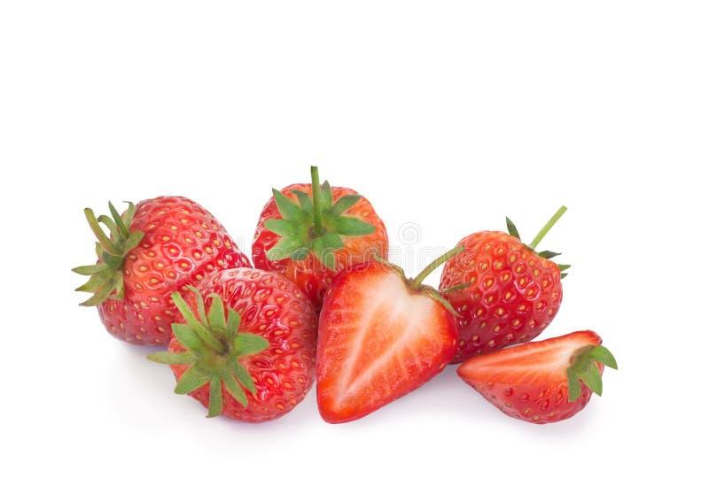 突显背景中的鲜草莓 库存照片