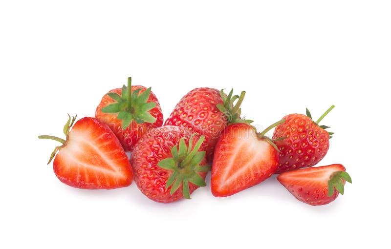 突显背景中的鲜草莓 图库摄影