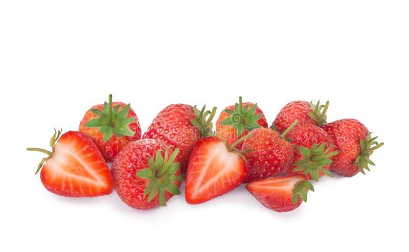 突显背景中的鲜草莓 免版税库存图片