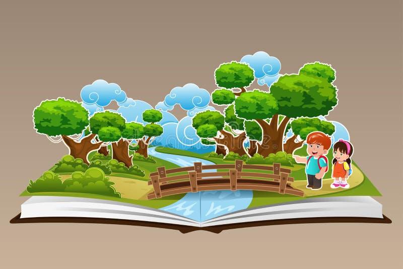 突然出现与森林题材的书 向量例证