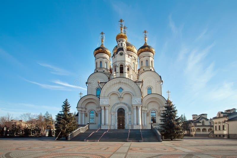 突然显现大教堂在格尔洛夫卡,乌克兰 库存图片