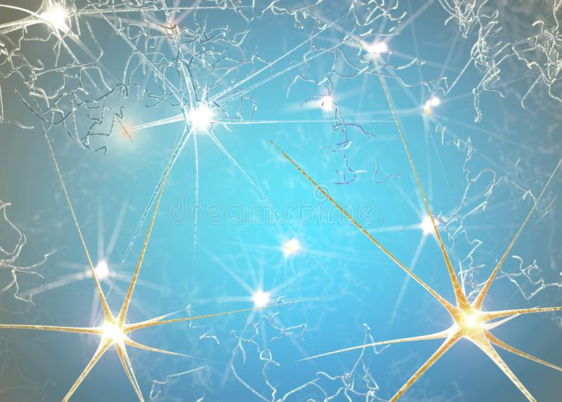 突触是允许神经元或神经细胞通过一个电子或化工信号到另一个神经元的结构 库存例证