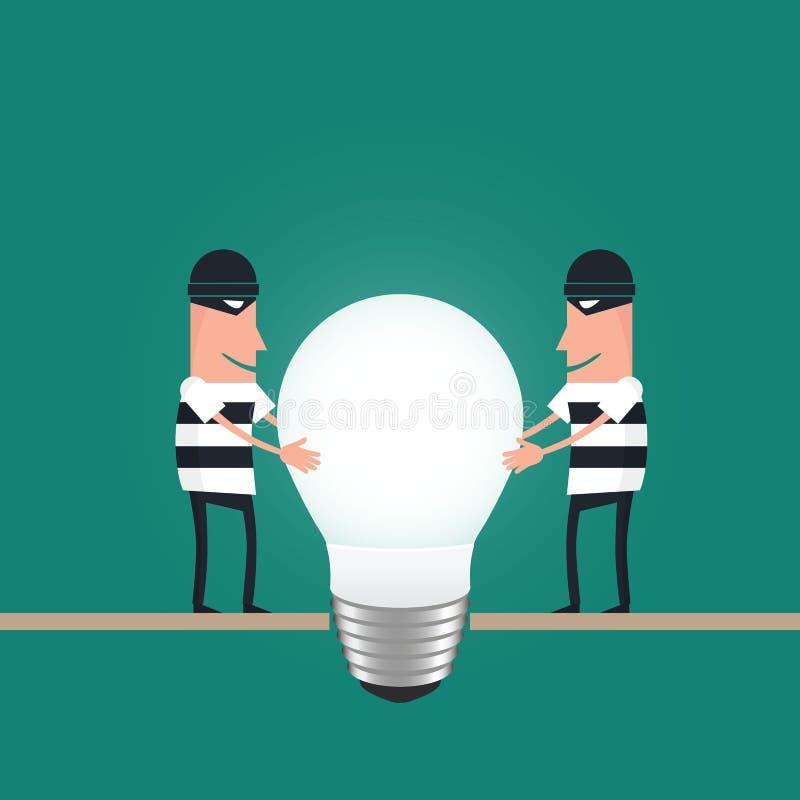窃取想法的窃贼,用电灯泡代表 皇族释放例证