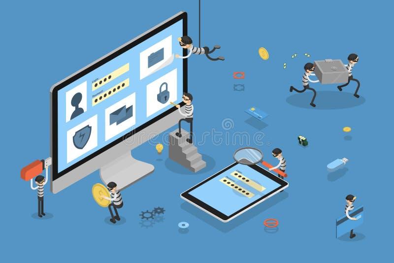 窃取数据的窃贼 库存例证
