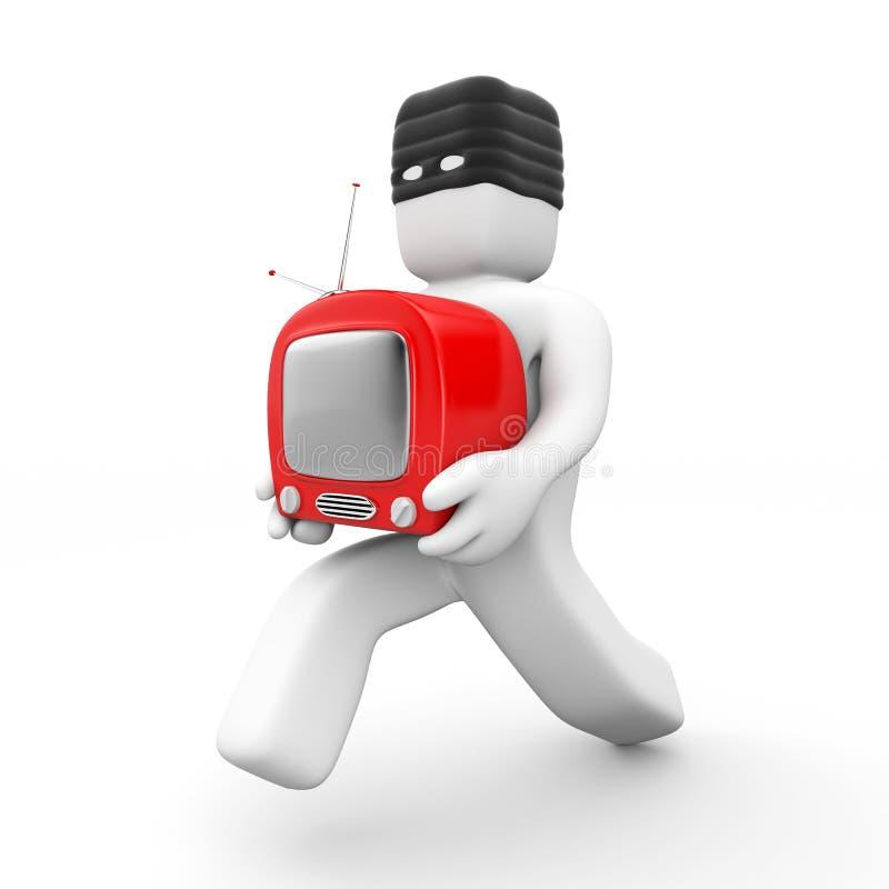 窃取窃贼电视 库存例证