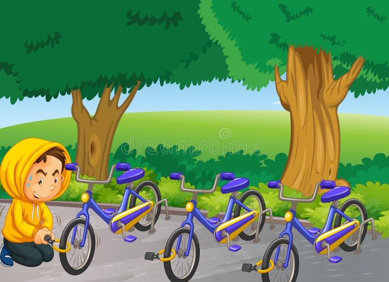 窃取自行车的人在公园 皇族释放例证
