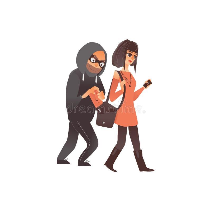 窃取钱包形式提包的传染媒介平的夜贼 向量例证
