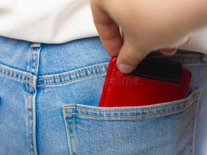 窃取钱包的特写镜头窃贼的手的对妇女 免版税库存图片