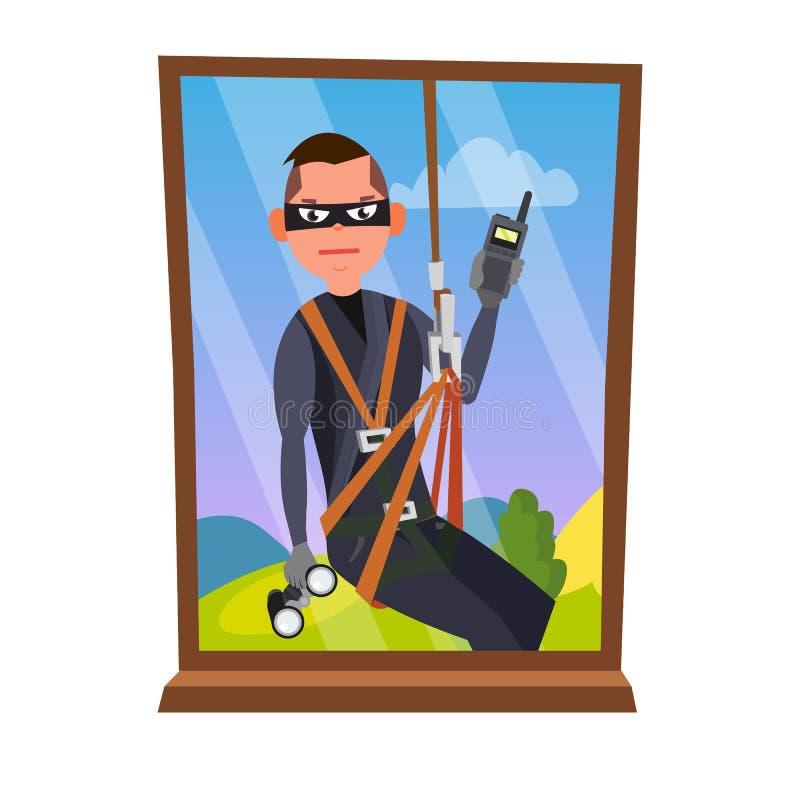 窃贼和窗口传染媒介 闯入议院通过窗口 所有概念保险类型 夜贼,面具的强盗,窃贼,盗案 向量例证