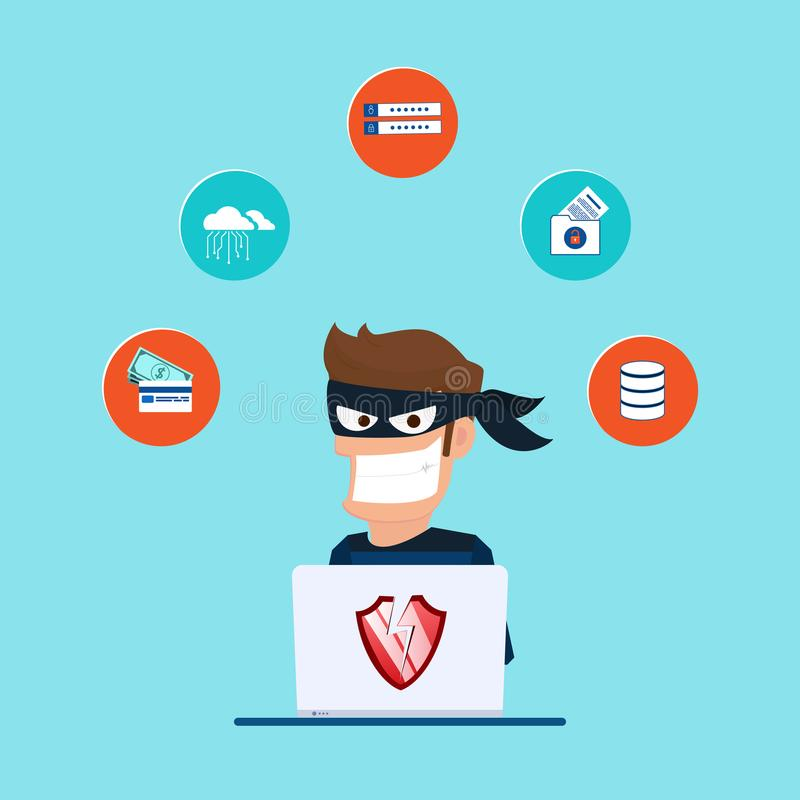 窃贼 窃取敏感数据的黑客作为从一个人计算机有用的密码反phishing和互联网病毒的竞选 皇族释放例证