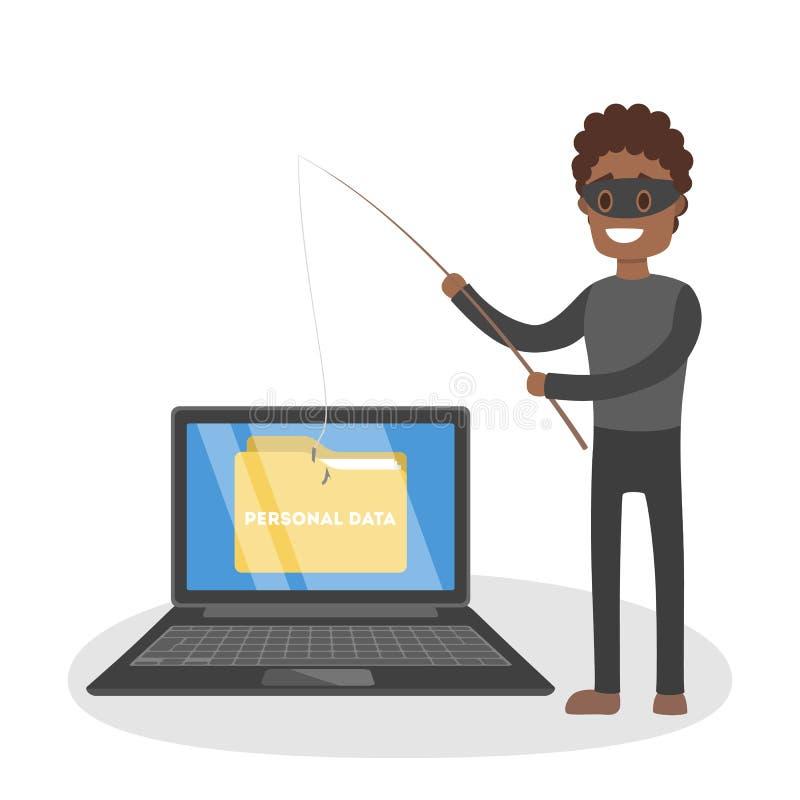 窃贼 窃取机要数据文件文件夹的黑客 向量例证