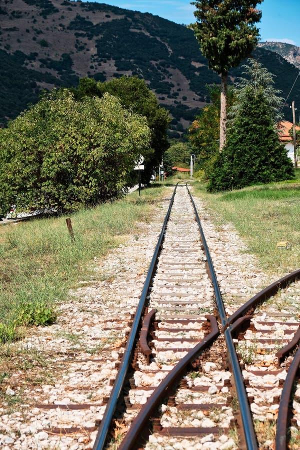 窄片火车线, Kalavryta,伯罗奔尼撒,希腊 库存图片