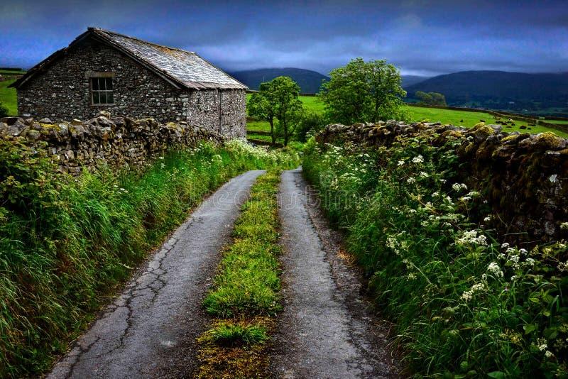 窄路、石篱芭和老石房子在约克夏 库存照片