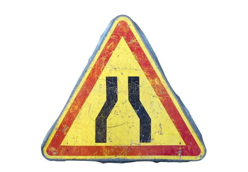 窄路符号 图库摄影