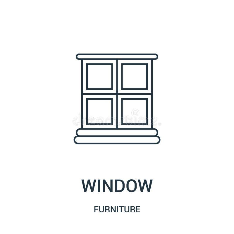 窗口从家具汇集的象传染媒介 稀薄的线窗口概述象传染媒介例证 线性标志为在网的使用和 向量例证