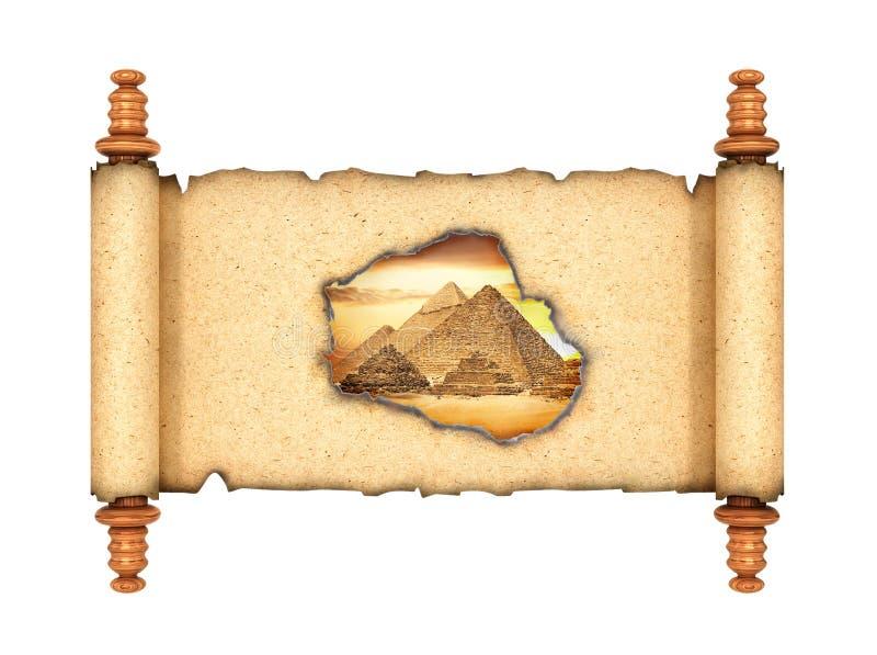 窗口到历史里 与您能看到老埃及的一个被烧的孔的一个开放纸卷 3d例证 向量例证