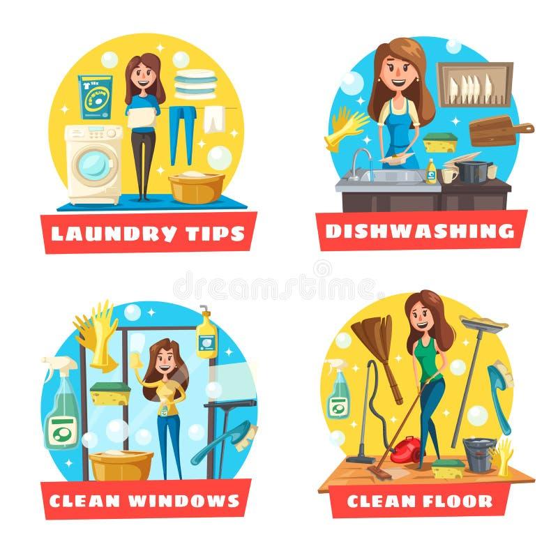 窗口和地板清洁、洗衣店和洗碗盘行为 皇族释放例证