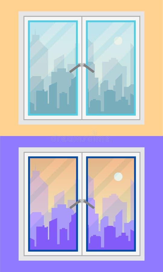 窗口和城市视图 早晨和晚上,版本 平的样式 皇族释放例证